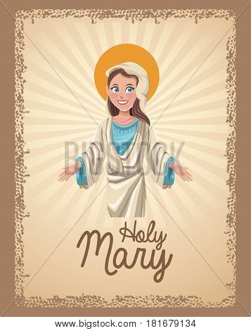 holy mary spiritual card vctor illustration eps 10