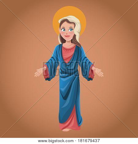 virgin mary spiritual belief blessed vector illustration eps 10