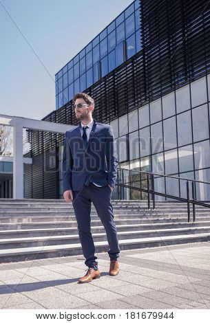 One Young Man, Suit Tie, Modern Formal Clothes Building Architecture