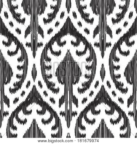 Vector illustration of black and white colored Ikat seamless pattern. Damask ornament. Fashion textile, cover, cloth, fabric, wallpaper, card, wrapping paper.