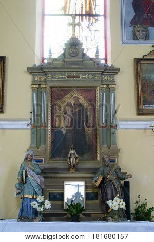 SISLJAVIC, CROATIA - AUGUST 23: Saint Anthony of Padua altar in the Parish Church of Saint Joseph in Sisljavic, Croatia on August 23, 2011.