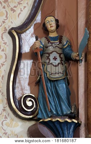 MARTINSKA VES, CROATIA - JUNE 03: Saint Catherine of Alexandria statue on the altar in Parish Church of Saint Martin in Martinska Ves, Croatia on June 03, 2011.