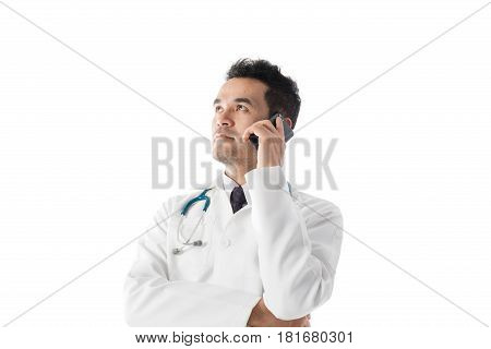 Asian Male Medical Doctor Using Smart Phone  On White Background