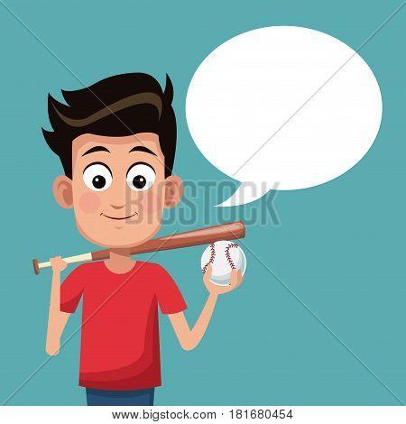 boy baseball sport talking image vector ilustration eps 10