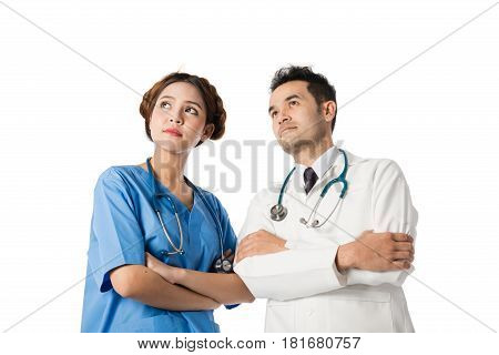 Asian Male Medical Doctors And Nurse On White Background