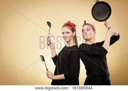 Kitchen Fight Between Retro Girls.