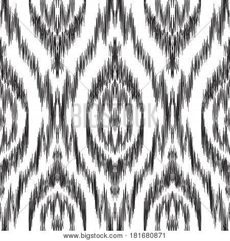 Vector Ikat seamless pattern. Bohemian ornament. Creative hippies print. Stylish ethnic backdrop. Boho chic style. Hipster design.