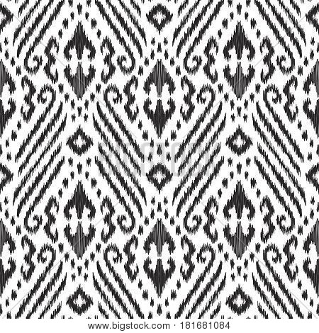 Vector illustration of black and white colored Ikat seamless pattern. Stylish ethnic background.