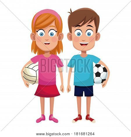 couple children sport soccer and volleyball vector illustraiton eps 10