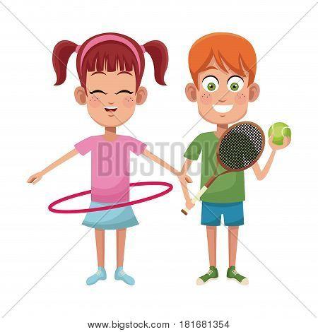 couple children sport hula hoop tennis vector illustraiton eps 10