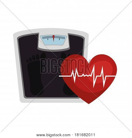 heart cardio with scale icon vector illustration design