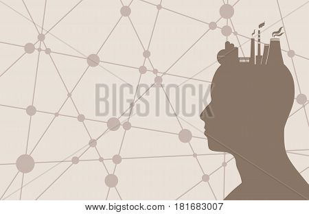 Head with factory for brain. Heavy industry and atom energy. Molecule And Communication Background. Brochure design. Connected lines with dots. Technology, industry and science background