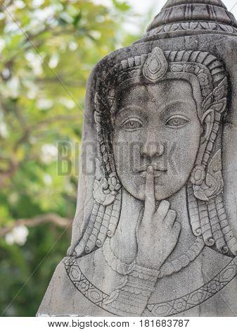 Puzzle of religious precept, dharma statue in Buddhist temple