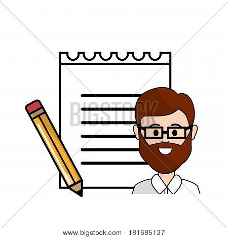 teacher with glasses, notebook papper and pencils, vector illustration