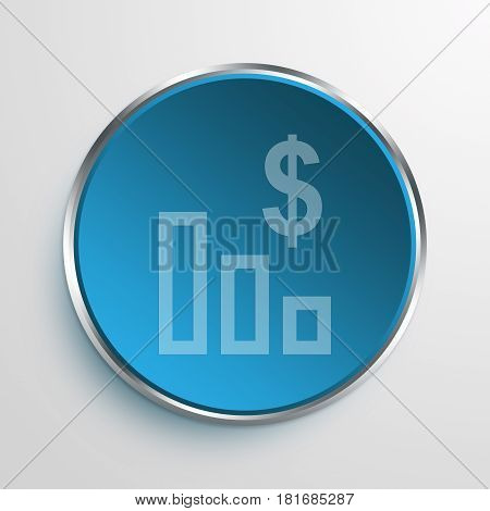 Blue Sign Dollar Bar chart Symbol icon Business Concept
