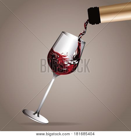glass cup pouring wine bottle vector illustration eps 10
