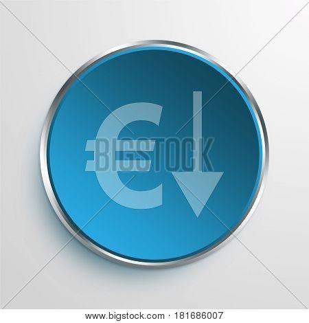 Blue Sign Euro Down Symbol icon Business Concept