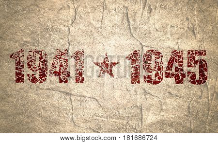 May 9 Russian holiday Victory Day background template. Happy Victory day. 1941 and 1945 cracked numbers. Concrete grunge texture