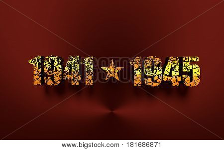May 9 Russian holiday Victory Day background template. Happy Victory day. 1941 and 1945 cracked numbers. 3D rendering. Metallic material