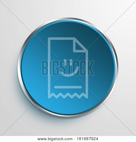 Blue Sign Happy Face Invoice Symbol icon Business Concept