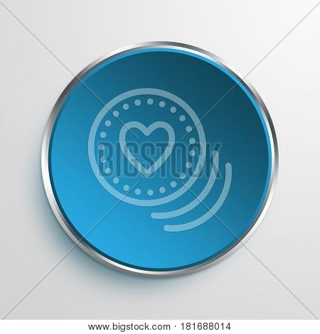 Blue Sign Heart Coins Symbol icon Business Concept