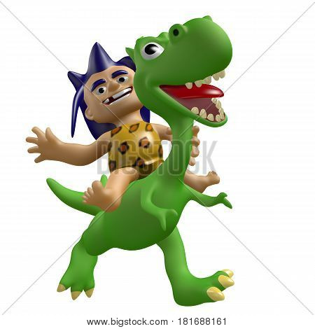Cartoon savage boy rides on a cute dinosaur. 3D illustration. Funny cheerful characters.