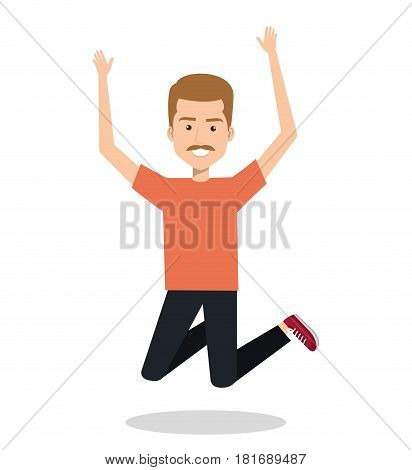 man celebrating with a leap vector illustration design