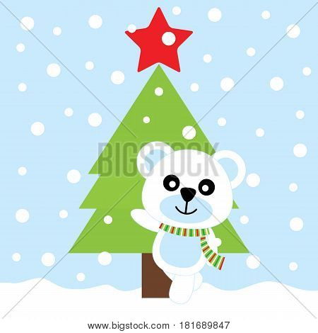 Xmas card with cute bear and Xmas tree vector cartoon, Xmas postcard, wallpaper, and greeting card, vector illustration