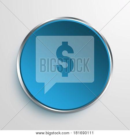 Blue Sign money talk Symbol icon Business Concept