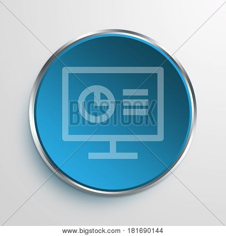 Blue Sign Monitor Analytics Symbol icon Business Concept