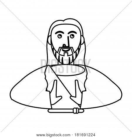 jesus christ with sacred outline vector illustration eps 10