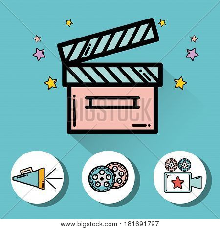 clapper board with video filmstrips, video camera and horn, vector illustration