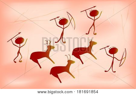 Stylization for prehistoric primitive painting depicting fortunate ancient hunters and animals. EPS10 vector illustration