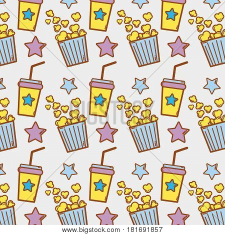 soda beverage and popcorn in the cinema background, vector illustration
