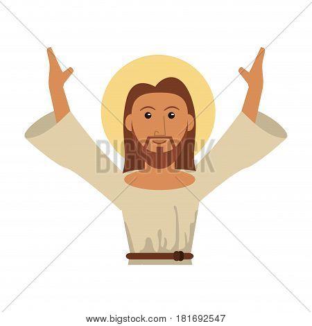 portrait jesus christ blessed image vector illustration eps 10