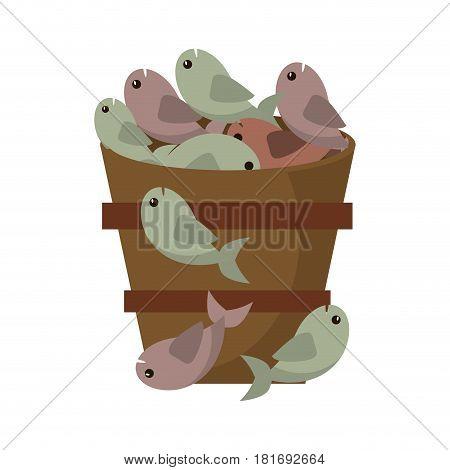 wooden bucket fish multiplication miracle vector illustration eps 10