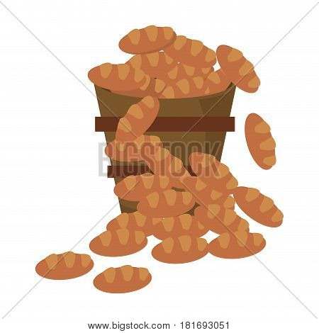 bucket bread multiplication miracle image vector illustration eps 10