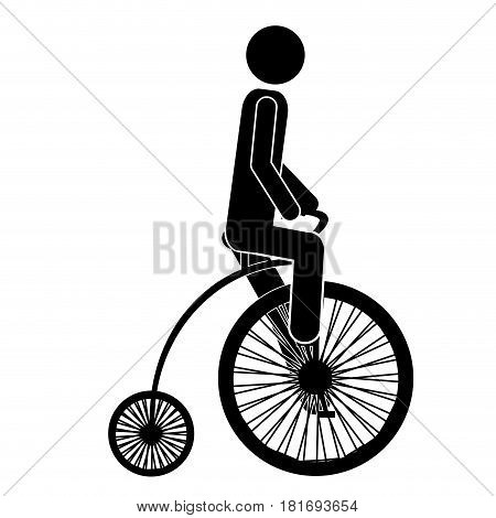 monochrome pictogram of man in penny farthing vector illustration