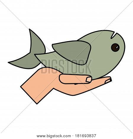 hand holding fish religious concept vector illustration eps 10