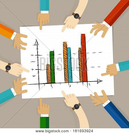 team work on paper looking to chart bar progress success business concept of planning hands pointing collaboration group in office vector