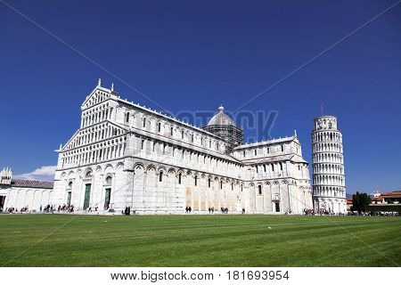 travel Italy - Pisa, Piazza dei miracoli, with the Basilica and the leaning tower