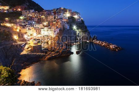 travel Italy series - Village of Manarola at night, on the Cinque Terre coast