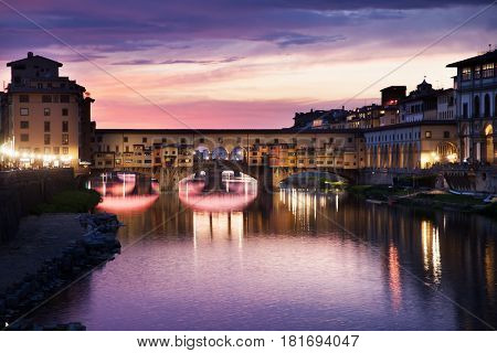amazing Florence - travel in Italy series -famous Ponte Vecchio over Arno river in Florence, Italy