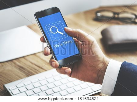 Job search magnifier glass symbol