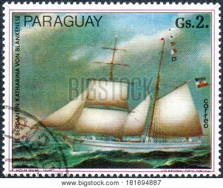 UKRAINE - CIRCA 2017: A postage stamp printed in Paraguai shows the bergantin Katharina von Blankenese from the series Paintings German ships circa 1977