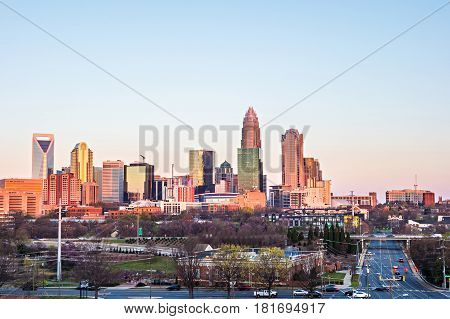 Charlotte North Carolina Early Morning Sunrise In Spring