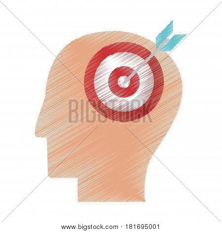 drawing profile head target objetive vector illustration eps 10