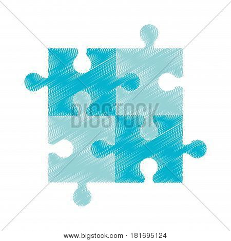 drawing blue puzzle jigsaw piece vector illustration eps 10
