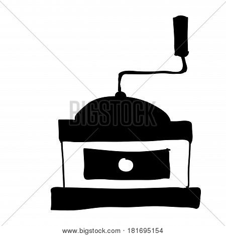 black silhouette hand drawn with coffee grinding machine with crank vector illustration