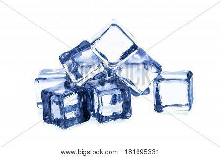 Melting ice cubes isolated on white bacground